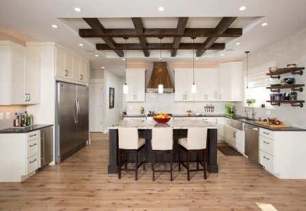 Falls Church, VA-Contemporary Open Kitchem with Wooden Beams