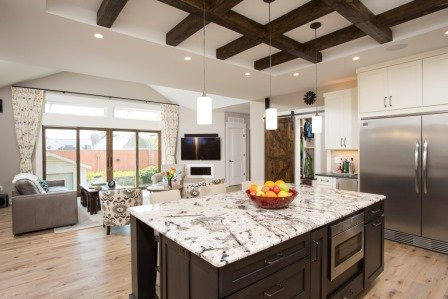 Falls Church, VA-Contemporary Open Kitchen with Large Eat-In Island, and Great Room