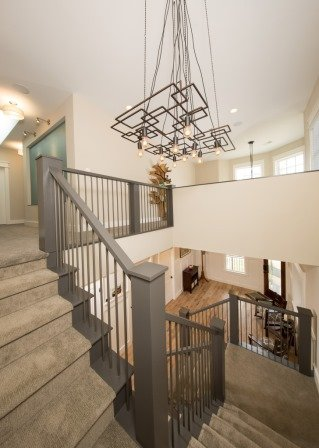 Falls Church, VA-Custom Built Staircase with Custom Contemporary Chandelier