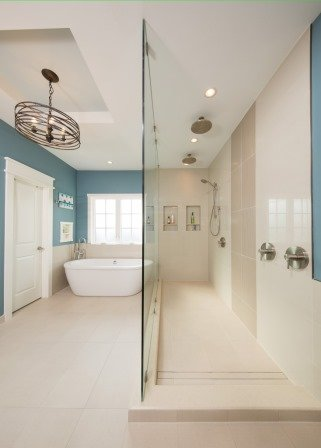 Falls Church, VA-Contemporary Master Bathroom Walk-In Shower and Soak-In Tub