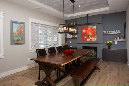 Falls Church, VA-Dining Room with Fireplace and Custom Dining Table and Chairs