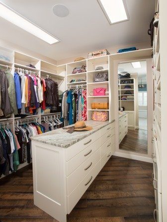 Falls Church, VA-Master Bedroom Closet with Built-In Cabinets