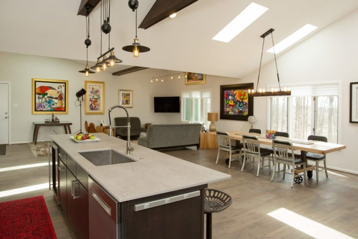 Fairfax, VA-Open Kitchen, Great Room, and Dining Room with Skylights