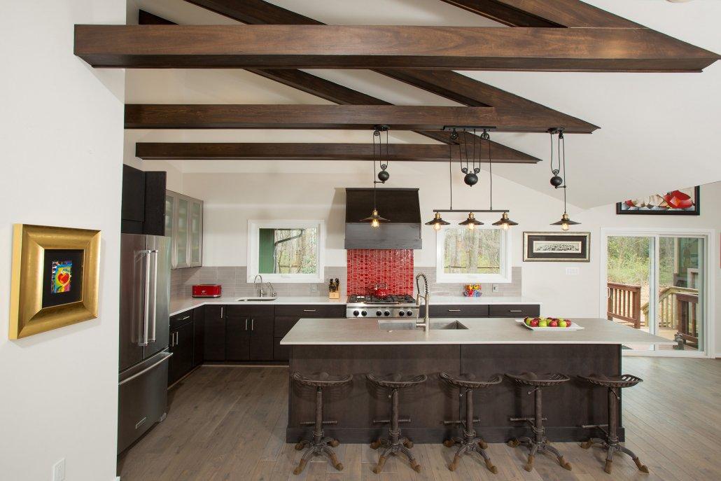 Fairfax, VA-Wood Beams above Open Concept Kitchen