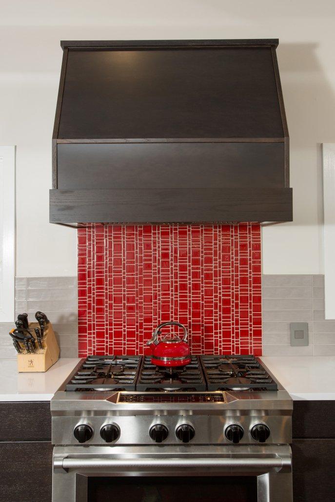 Fairfax, VA-Bright Red Kitchen Tile Back Splash