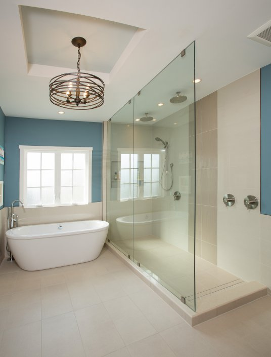 Falls Church, VA-Luxurious Master Bathroom with Walk-In Shower and Soak-In Tub