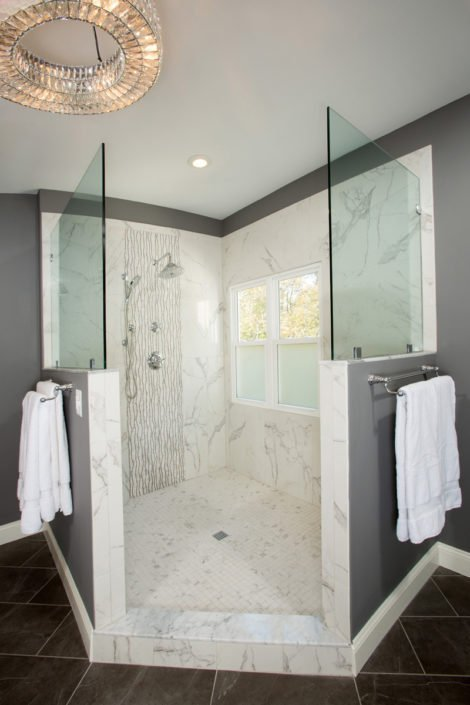 Springfield, VA-Master Bathroom with Walk-In Tiled Shower