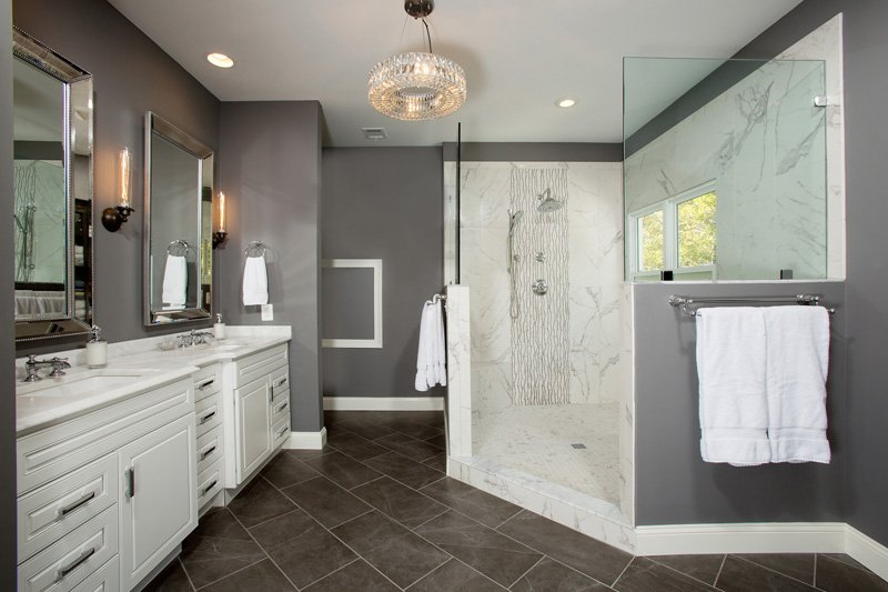 Springfield,VA-Luxurious Master Bathroom with Large Walk-In Shower