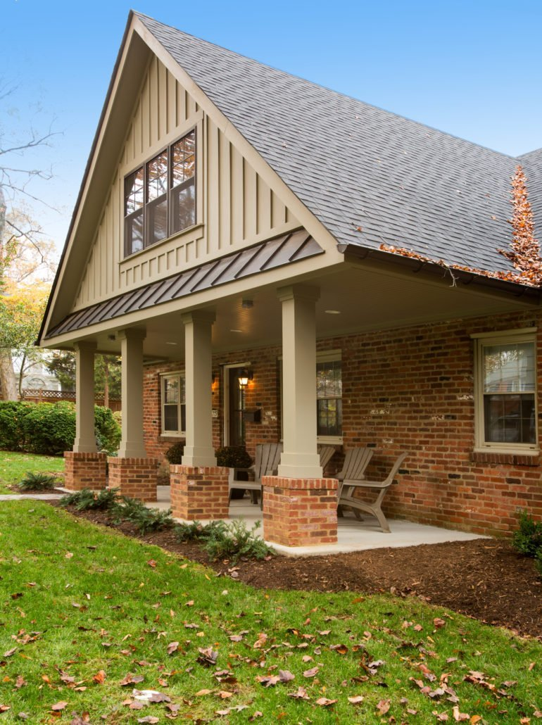 home exterior remodel with columns