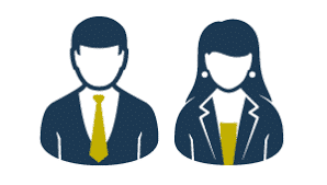 salesman and saleswoman graphic
