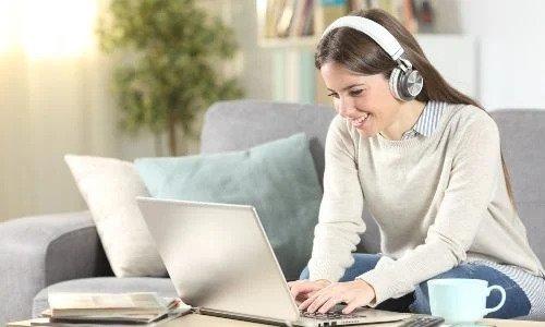 working with headphones
